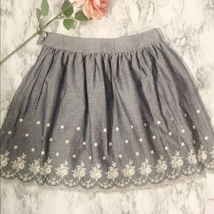 Anthropologie Nick & Mo Chambray Embroidered Skirt